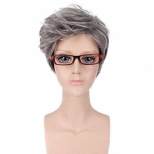 [FESHFEN Gray Wig Harajuku Gradient Daily Granny Gray Grey Stylish Cosplay Wig Short Grey Hair Wig For Men] (Wigs For Mens)