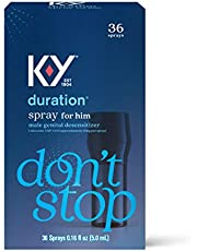 Duration Spray for Men, K-Y Male Genital Desensitizer Numbing Spray to Last Longer, 0.16 Fl Oz, 36 Sprays, Made with Lidocaine to Help Men Last Longer in Bed