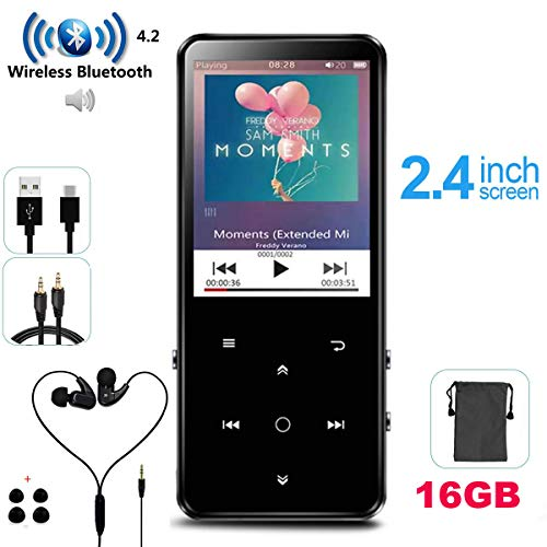 HONGYU 16GB MP3 Player with Bluetooth Touch Button 2.4 Inch Screen,Portable Lossless Digital Audio Bluetooth Music Players with Speaker/FM Radio/Voice Recorder -Black