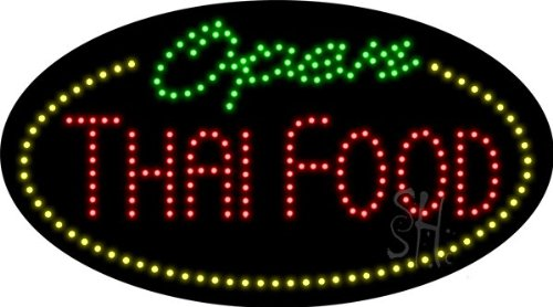 Thai Food Open Animated Outdoor LED Sign 15'' Tall x 27'' Wide x 3.5'' Deep by The Sign Store