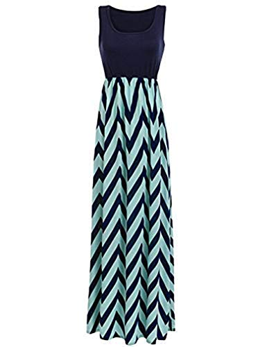 Womens Tank Top Long Maxi Dresses Summer Boho Empire Chevron Tank Top Casual Beach Dresses (A-Royal Blue, Medium)