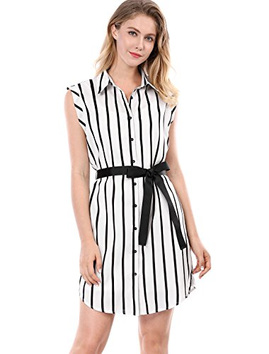 Sleeveless Belted Shirt Dress - Allegra K Women's Striped Sleeveless Belted Shirt Dress w Cami S White