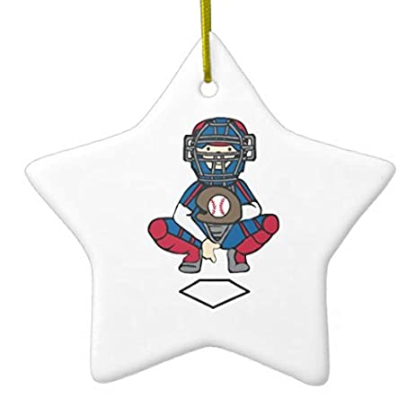 star sharp christmas ornaments baseball catcher ceramic ornament - Baseball Christmas Ornaments