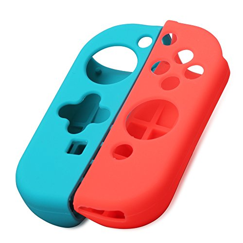 Azlink Joy Con Gel Guards For Nintendo Switch Joycon Silicone Cover Protective Skins Anti Slip Case Blue  Red