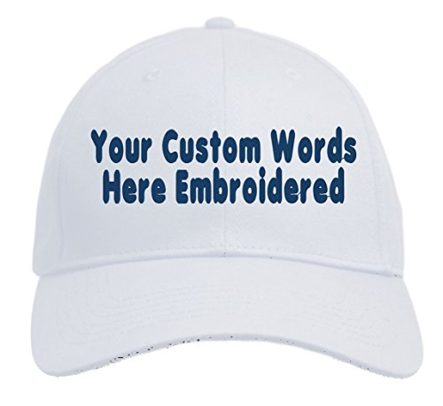 Custom Hat, Embroidered. Your Own Text. Adjustable Back. Curved Bill (White)