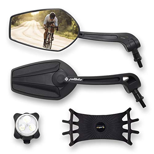 FullBike Bicycle Mirrors for Handlebars - Upgraded Bike Mirror Handlebar Mount Set With Rechargeable Front Bike Light & Universal Cellphone Holder - Great for Bikes, Scooters & Motorcycles - 2 Pack…