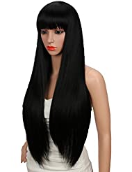 Kalyss 26 Inches Womens Silky Long Straight Black Wig Heat Resistant Synthetic Wig With Bangs Hair