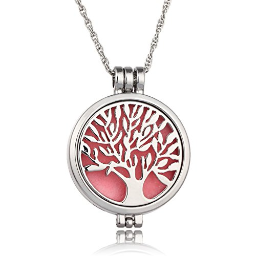 Mother Nature Costume Homemade (Life Tree Mother Glow In The Dark Necklace Essential Oil Diffuser Necklaces Boys Pendant Jewelry Red)
