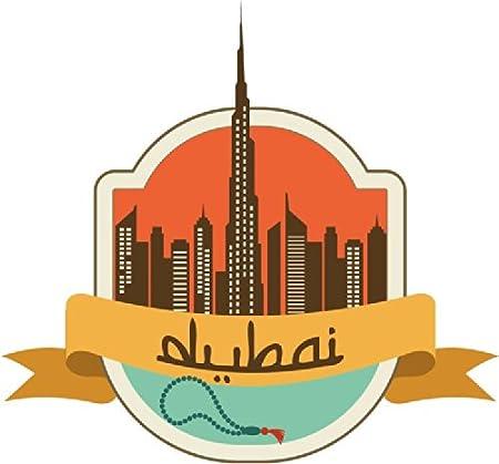 Dubai united arab emirates world city travel label badge car bumper sticker decal 12 x 12