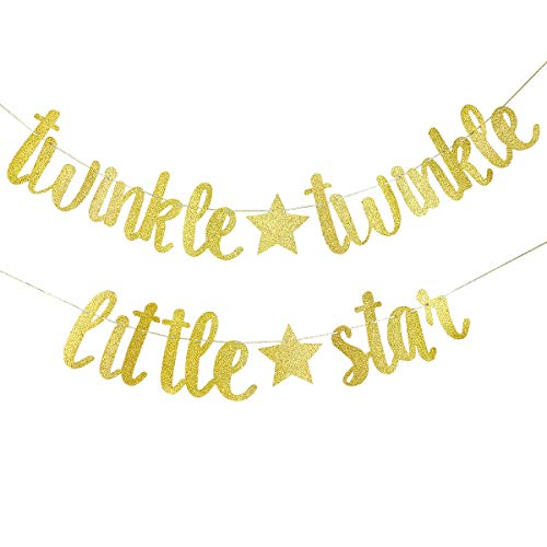 Twinkle Twinkle Little Star Banner- Birthday Party Baby Shower Party Decorations (Gold) ()