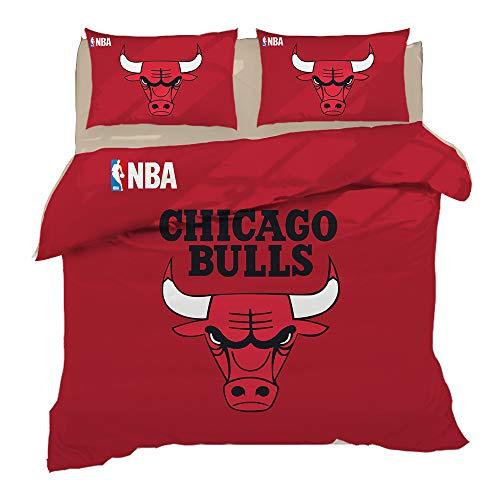 Duvet Cover Pillowcase,NBA Basketball Team Bedding 3 Pieces Set,Double Bed No Fade Soft Hypoallergenic Superfine Fiber Bedding Red, Blue, Purple,Bulls,Full