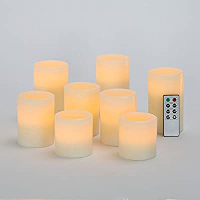 Variety Set of 8 Ivory Flameless Cream Wax Pillar Candles with Remote