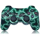 PS3 Controller Wireless Double Shock Controller for Playstation 3 with Charge Cord (Green)