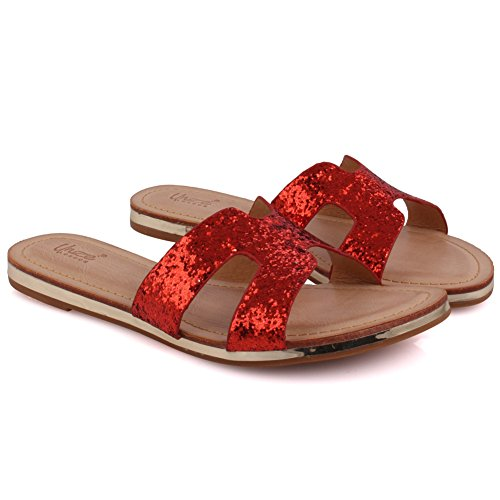 Glittered Slider Mujeres School Casuales Beach Zapatos Party Sandalias Pantalones Together Rojo Tamaño 8 Abierto Uk Get Nuevas Toe 3 Unze Carnival 'keith' Planos Verano wY5AXqx