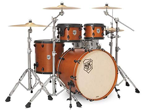 SJC Custom Drums Tour Series 4-piece Shell Pack - Golden Ochre Satin Stain - Flat Black Hardware