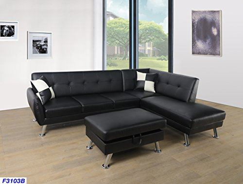 Avalon Set Sofa - Beverly Fine Funiture CT3103B Sectional Sofa Set, Black