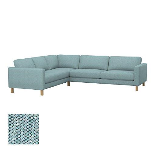 Soferia Replacement Cover for IKEA KARLSTAD 2+3/3+2 Corner Sofa, Fabric Nordic Sea Green (Karlstad Corner Sofa 2 3 3 2)