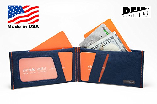 Made Option Thin Size and Stitching Guaranteed Navy Waterproof in Durable Minimalist Rfid SlimFold With Nano RFID USA Orange Wallet HIwBqqz