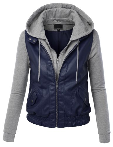 MBJ Womens Faux Leather Zip Up Moto Jacket With Hoodie M BLUE