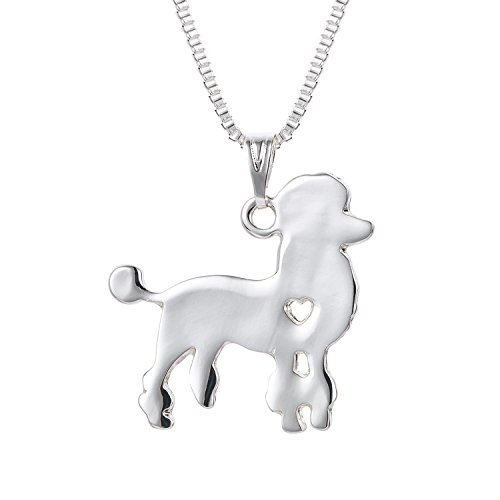 - WeiVan Poodle Necklace in Silver Color Cute Necklace Puppy Toy Poodle Pendant