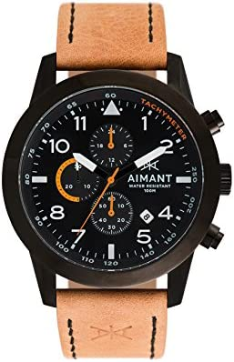 AIMANT Berlin Cronograph Watches 47 MM Men s Analog Watch Leather Strap
