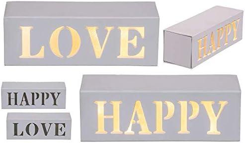 Lámpara LED de luz blanca cálida en caja de madera Love & Happy surtida, aprox. 15 x 5 cm, 2 pilas Mignon caja de PVC # 220335: Amazon.es: Iluminación