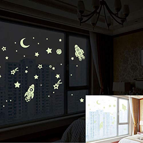 Wall Stickers - 1pc Creative Removable Diy Luminous Pvc Wall Sticker Glow In The Dark Space Stars Planet Rocket Kids - Underwater Dining Horse Characters Flowers Space Disney Eyes Easy Jurrasisc -