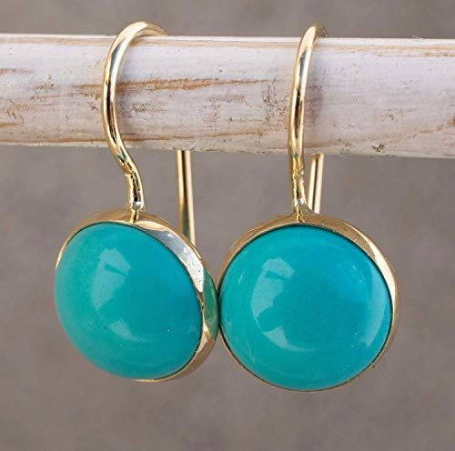 14K Gold Turquoise Earrings - 14K Solid Yellow Gold Dainty Dangle Drop Earrings, December Birthstone, 8mm Turquoise Gemstone, Perfectly Simple Handmade Gift for Classy Women