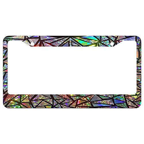 Mosaic Silver Quality Show (Custom Auto Frames Holographic Mosaic Personalized Black License Plate Frame Tag, Slim Aluminum Metal Car Tag Frame 2 Holes License Plate Cover Holder)