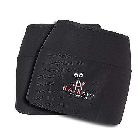 "HairDay Care Professional Waist Apron - 100% Cotton Waist Apron for Women & Men - Machine Washable Hair Stylist Apron/Chef Apron with 3 Pockets, Adjustable Waist Tie - 24"" x 8"", Universal Fit - - Denim Pinstripe Cap"