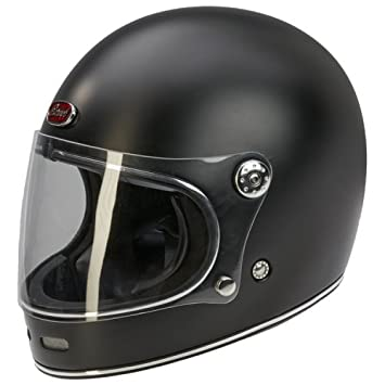 Casco de moto barroco de estilo retro B510, integral, color negro mate - S