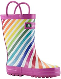 Kids Rubber Rain Boots With Easy-On Handles | Mermaids, Pirates, Crocodile, Purple Fairies, Blue Dino, Army