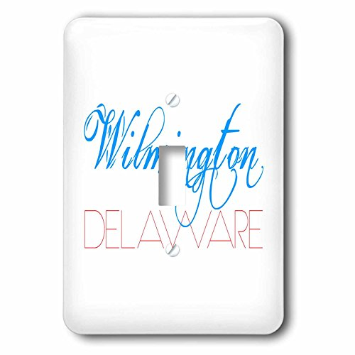 - 3dRose Alexis Design - American Cities - American Cities - Wilmington Delaware, blue, red on white - Light Switch Covers - single toggle switch (lsp_283936_1)