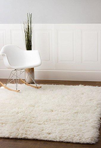 Hand-Woven Soft Wool Flokati Shag Rug 6 Feet by 9 Feet (6' X 9' ) , White - New Flokati Rug
