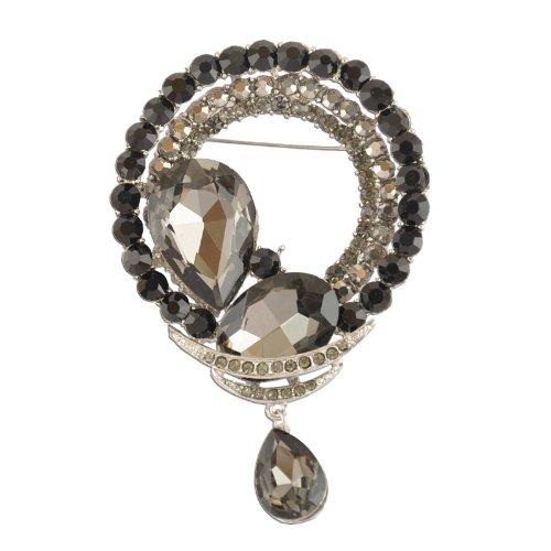 Dangling Brooch Crystal (Circular Black Dangling Crystal Brooch)