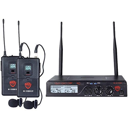 NADY U-2100 LT/O (BAND A/B) UHF Dual 100-Channel Wireless Lavalier Handheld Microphone System ()