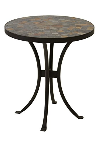 Mosaic Side Table 18'' Round Stone/Concrete Top Outdoor Patio Garden Furniture (Slate Outdoor Top Furniture)