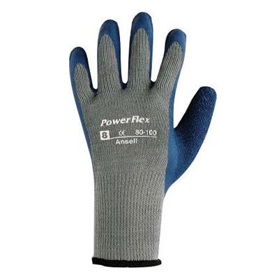 (Ansell Size 7 PowerFlex® Heavy Duty Multi-Purpose Cut And Abrasion Resistant Blue Natural Rubber Latex Palm Coated Work Gloves With Gray Seamless Cotton And Polyester Knit Liner And Knit Wrist)