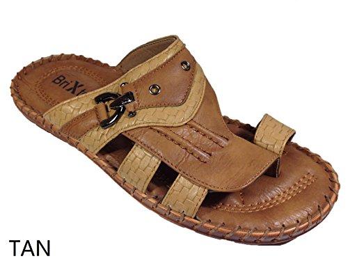 Men Ring Toe Comfort Causal Slides on Sandals (Jammy02) (7.5, Black)