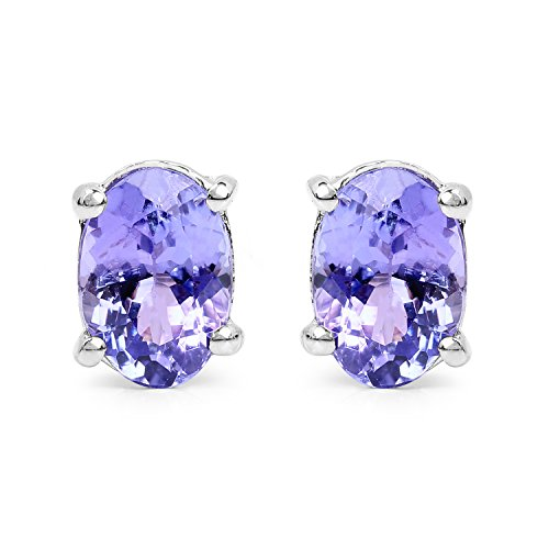 Carats Tanzanite Earrings (1.35 Carats Genuine Tanzanite Oval Stud Earrings Solid .925 Sterling Silver With Rhodium Plating)