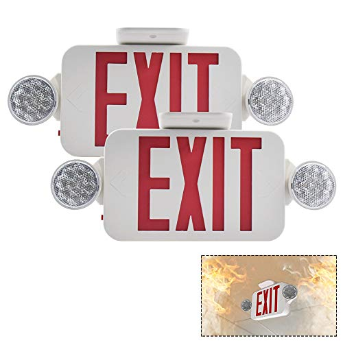 【2 Pack】LFI Lights UL Certified EXIT Sign with Emergency Light Red EXIT Compact Combo Hardwired High Output ()