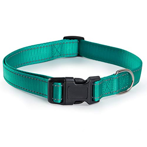Reflective Dog Collar with Buckle Adjustable Safety Nylon Collars for Small Medium Large Dogs, Green S