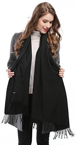 [Women Solid Soft Cashmere Feel Shawl Wrap Stole,Black] (Womens Halloween Ideas)