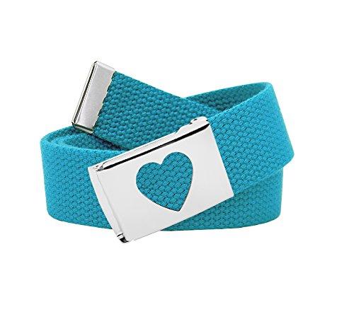 - Girl's School Uniform Silver Flip Top Heart Belt Buckle with Canvas Web Belt Medium Teal
