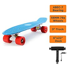"Raptor (TM) SKATEBOARD RETRO BANANA SKATE BOARD 22"" Deck and PU wheels (Blue on Red)"