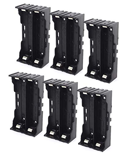 (abcGoodefg 18650 Battery Holder with Pin, 2 Slotes 3.7V 18650 Battery Plastic Storage Box Case 6 Pack)