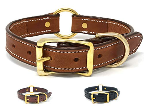 Tan Leather Dog Collar with Heavy Duty Center Ring | for Small, Medium, Large, or XL Dogs ()
