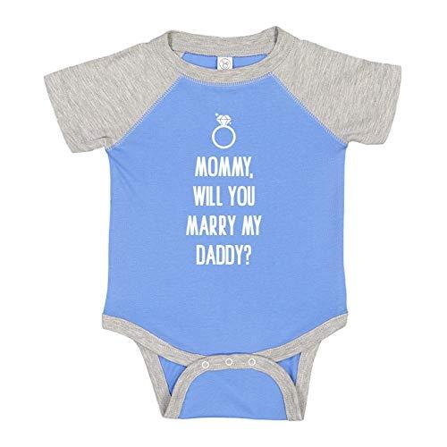 Mashed Clothing Mommy, Will You Marry My Daddy? - Baby Raglan Bodysuit (Blue/Heather Newborn)]()