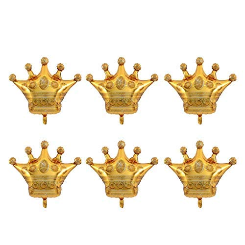6PCS Crown Balloons Foil Helium Mylar Balloons for Birthday Wedding Halloween Christmas Party Decoration - Golden -