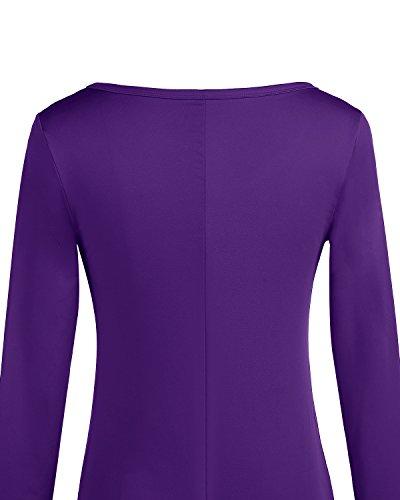 Purple Corto Básico Bbonlinedress Camisero Mujer Larga Vestido Manga Casual w1ROHR84q